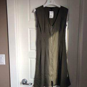 H&M army green dress new with tags ,frontzip down